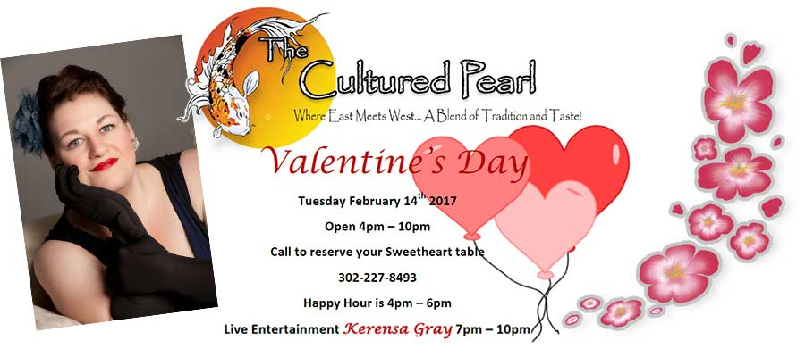 Valentines Day at The Cultured Pearl Tuesday February 14th 2017 Live Jazz with Kerensa Gray.