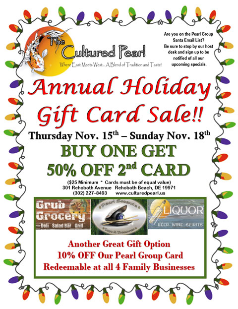 The Annual Holiday Gift Card Sale is On! November 15th - 18th, 2018!